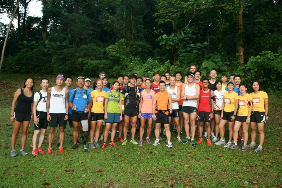 Kami Semick with TNF runners at Macritchie Reservoir
