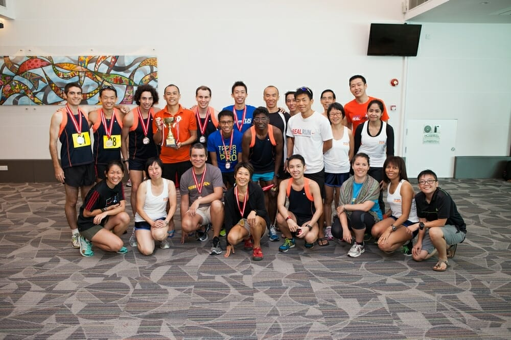 Members of the NUS staff running team.