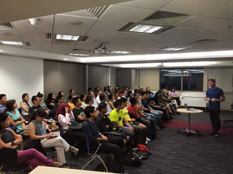 About 70 runners packed a meeting room in the IRAS Building to listen to Vlad as he shares his training, racing, nutrition and recovery techniques and methods. Photo: Vlad Ixel's Facebook Page.