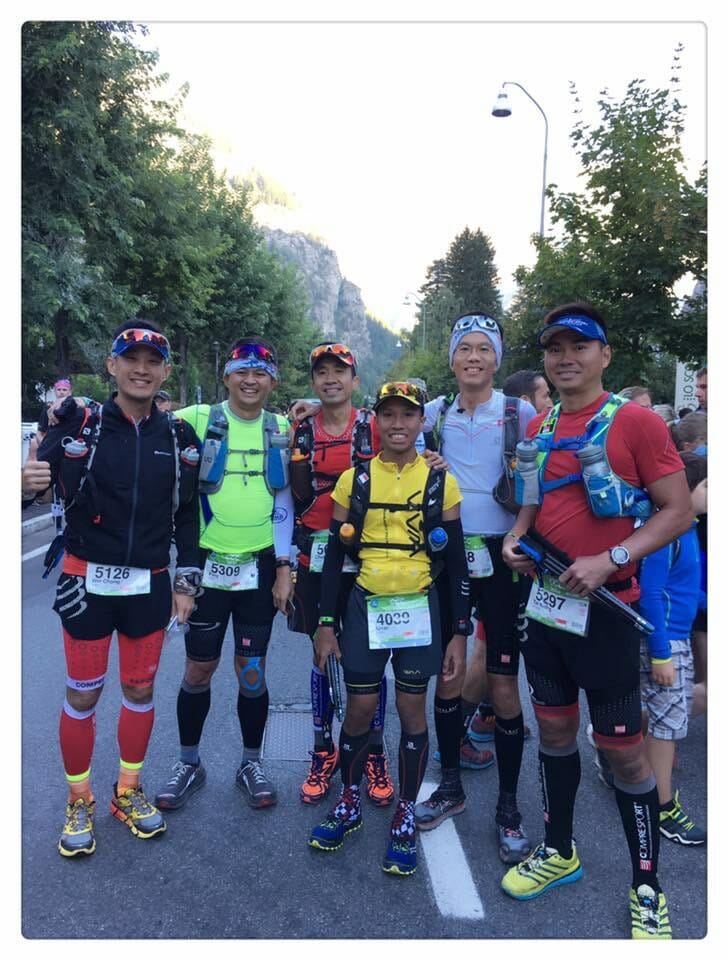 Some of the Singaporean Runners for UTMB CCC 2016. L2R: Wei Chong, Ngin Ping, Duwei, Azlan, William, Max (Photo by Amy Khor!)